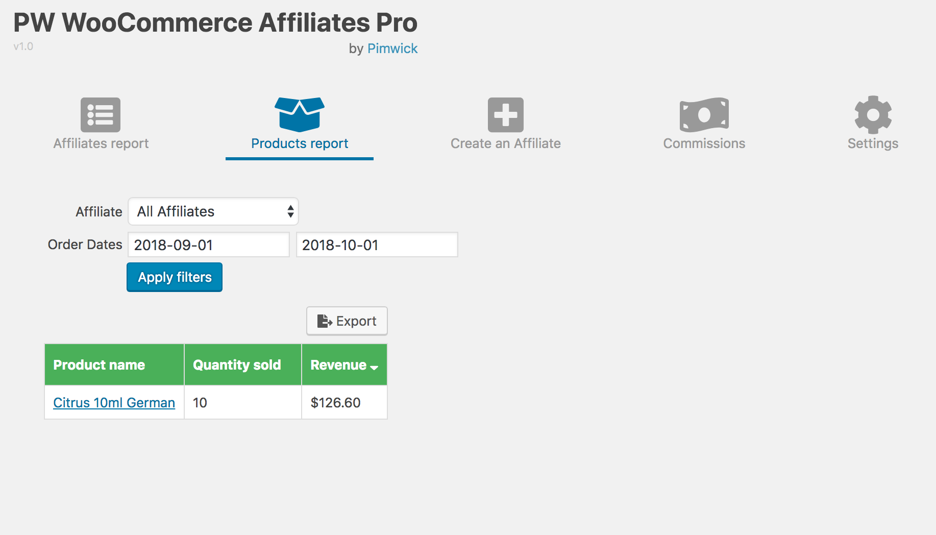 WooCommerce Affiliates - Screenshot