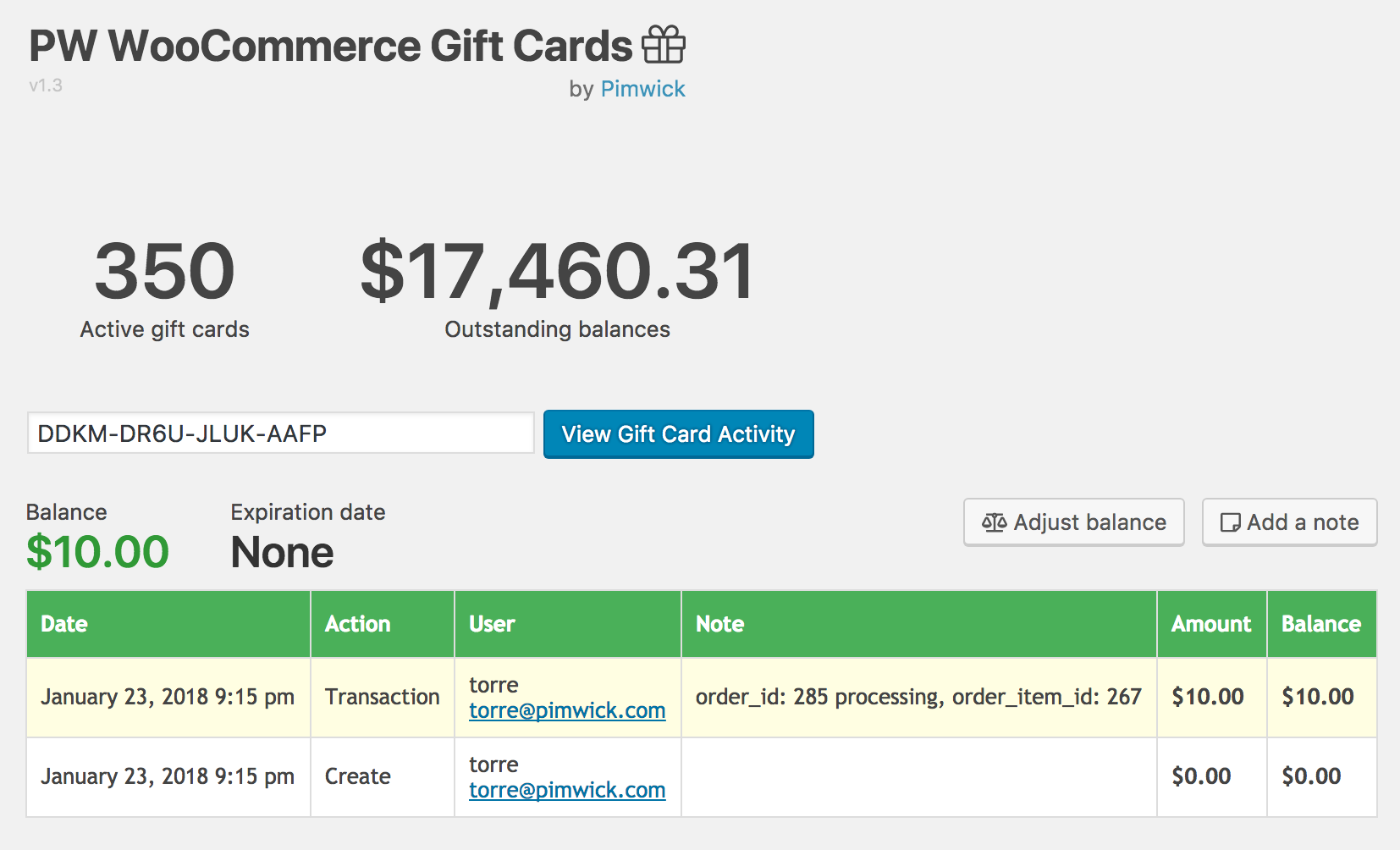 Woocommerce gift cards amazing plugin by pimwick llc woocommerce gift cards screenshot xflitez Image collections