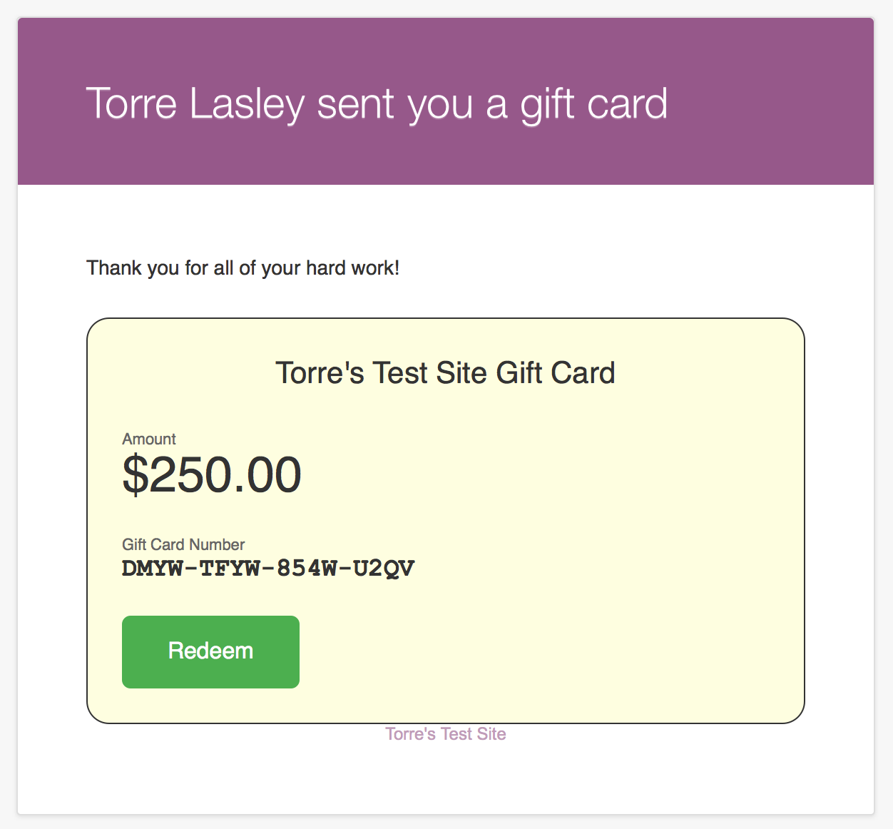 WooCommerce Gift Cards - Screenshot