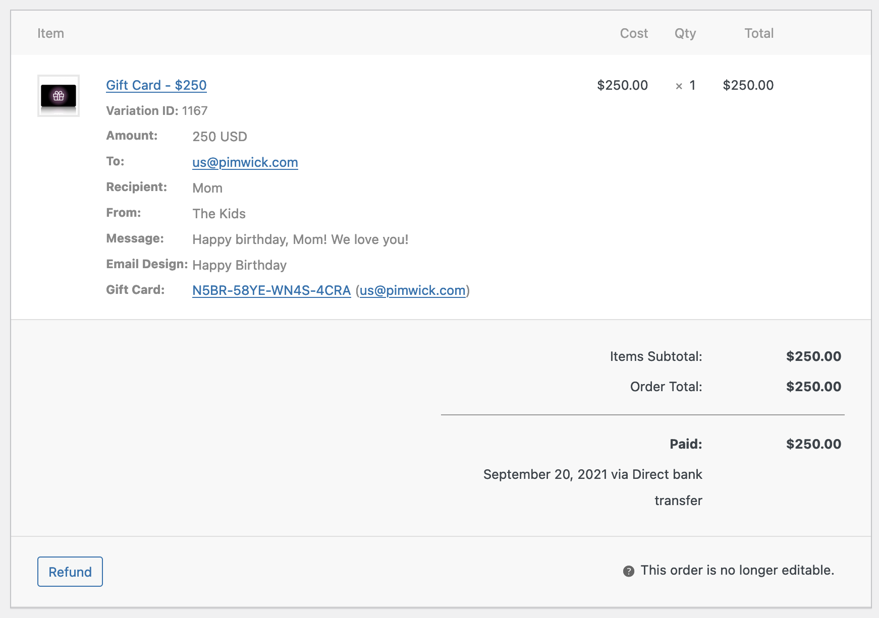 WooCommerce Gift Cards - Screenshot
